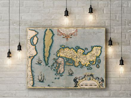 Abraham Ortelius: Map of Japan. Fine Art Canvas.